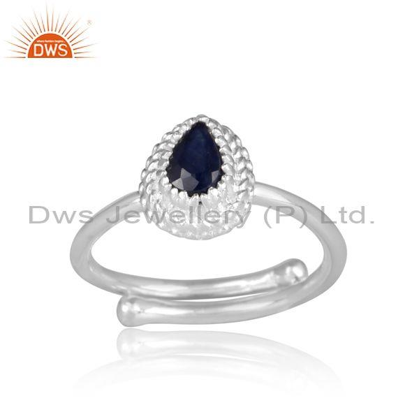 Oval cut blue sapphire set fine silver designer ethnic ring