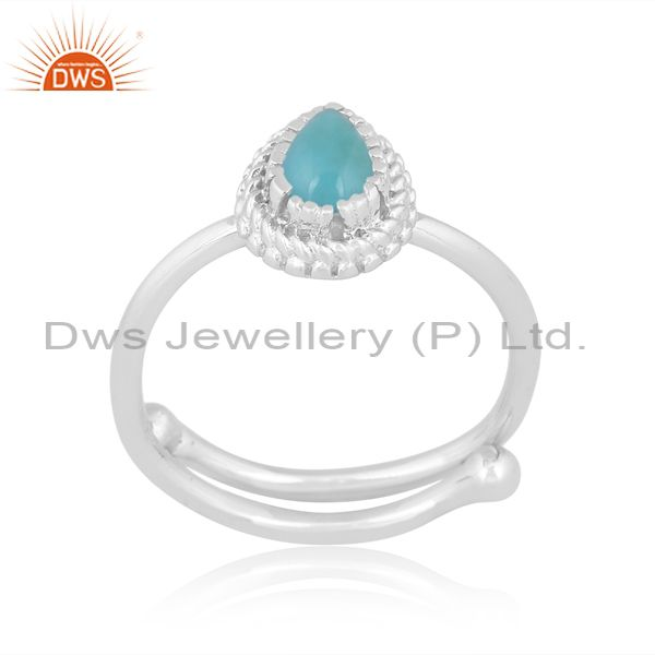 Arizona turquoise fine silver pear shaped crown shaped ring