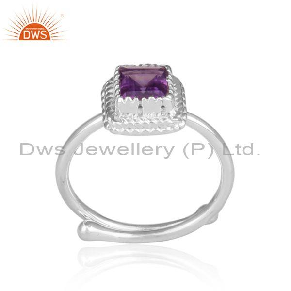 Amethyst set fine sterling silver designer statement ring