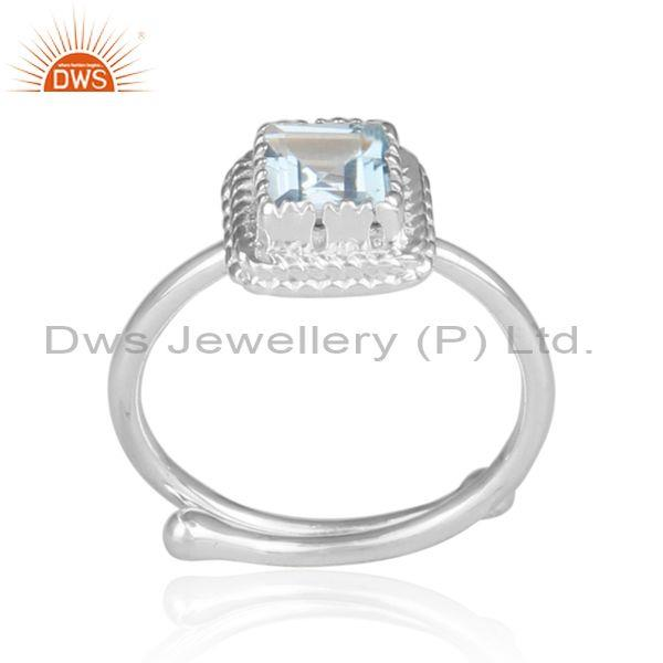 Blue Topaz Set Fine 925 Sterling Silver Fancy Designer Ring
