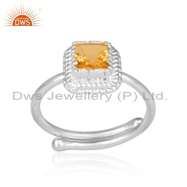 Citrine set fine 925 sterling silver designer retro ring
