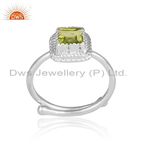 Peridot Set Fine 925 Sterling Silver Intricate Designer Ring