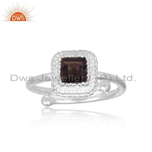 Square Cut Smoky Set Fine 925 Sterling Silver Designer Ring