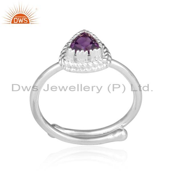 Amethyst Set Fine Sterling Silver Intricate Designer Ring