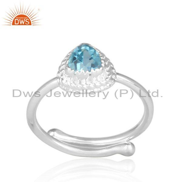 Blue topaz set fine silver triangular designer retro ring