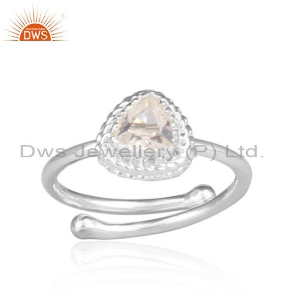 Crystal quartz set fine 925 silver intricate designer ring