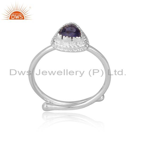 Iolite set fine 925 silver triangular designer retro ring