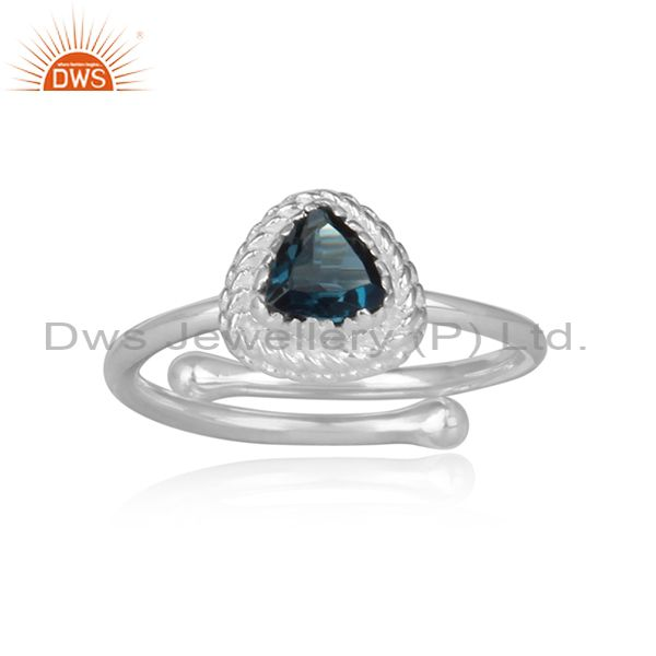 London blue topaz fine silver triangular designer retro ring