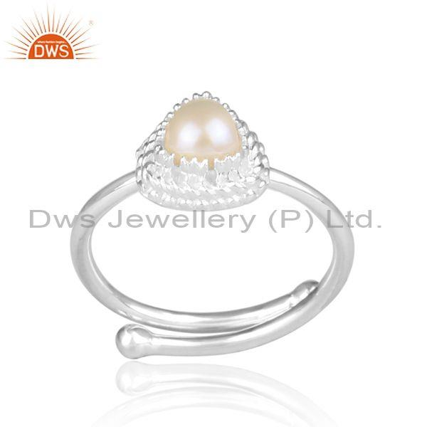 Pearl set fine 925 sterling silver intricate designer ring