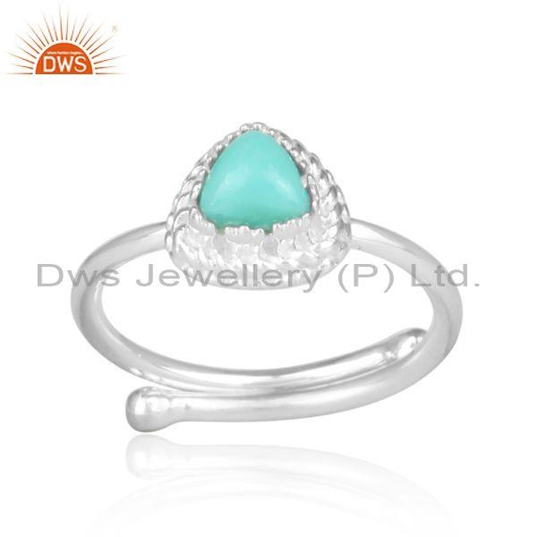 Arizona turquoise fine silver triangular designer retro ring