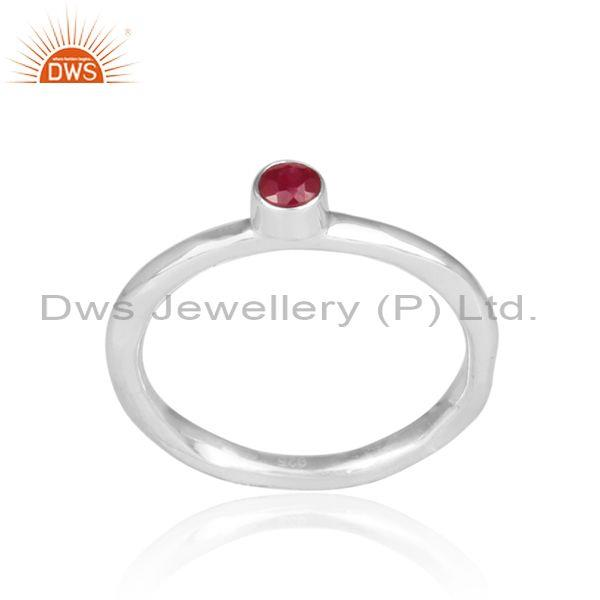 Hand Hammered Ruby Set Fine Sterling Silver Statement Ring