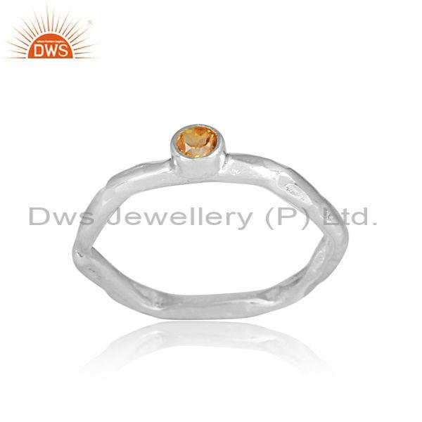 Citrine set fine 925 sterling silver designer hexagonal ring