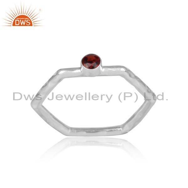Garnet set fine 925 sterling silver hexagonal designer ring