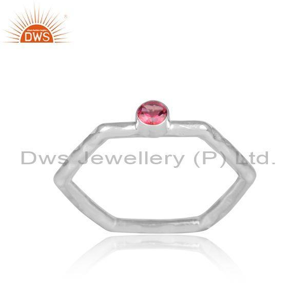 Pink topaz set fine sterling silver hexagonal designer ring