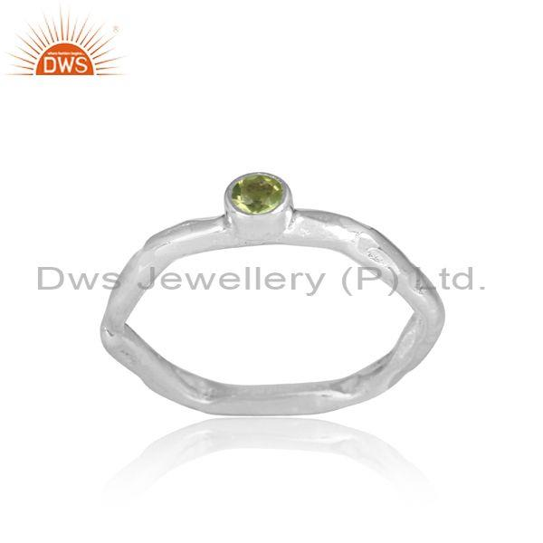 Peridot set fine 925 sterling silver designer hexagonal ring