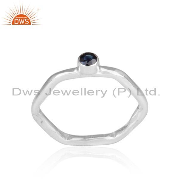 Hand hammered blue sapphire set fine silver hexagon ring