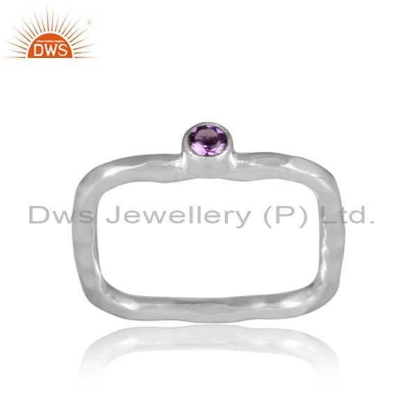 Amethyst Set Fine Sterling Silver Designer Rectangular Ring