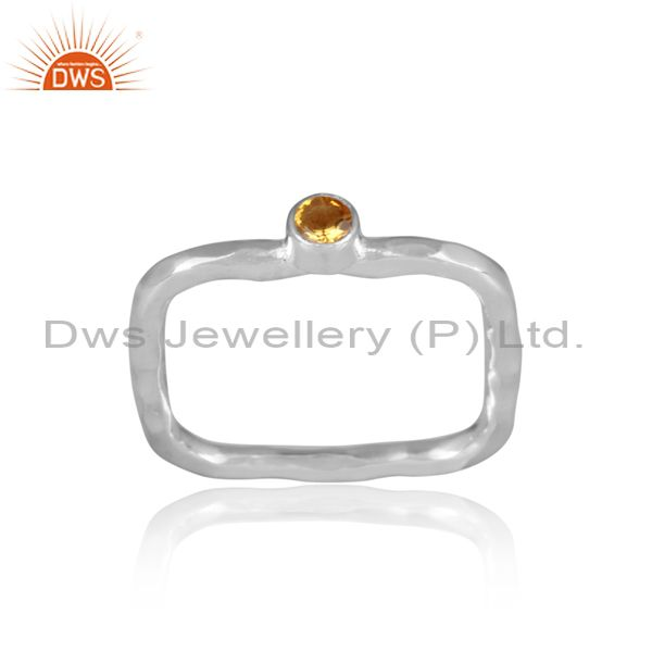 Citrine Set Fine Sterling Silver Designer Rectangular Ring