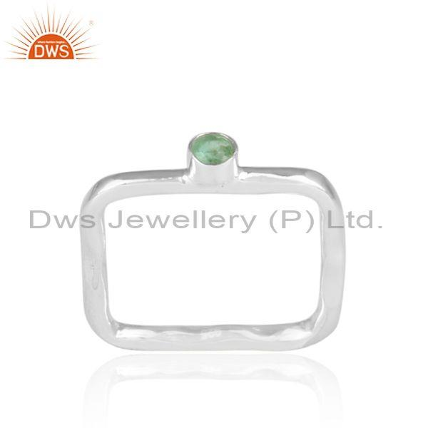 Hand Hammered Emerald Set Fine 925 Silver Square Shape Ring