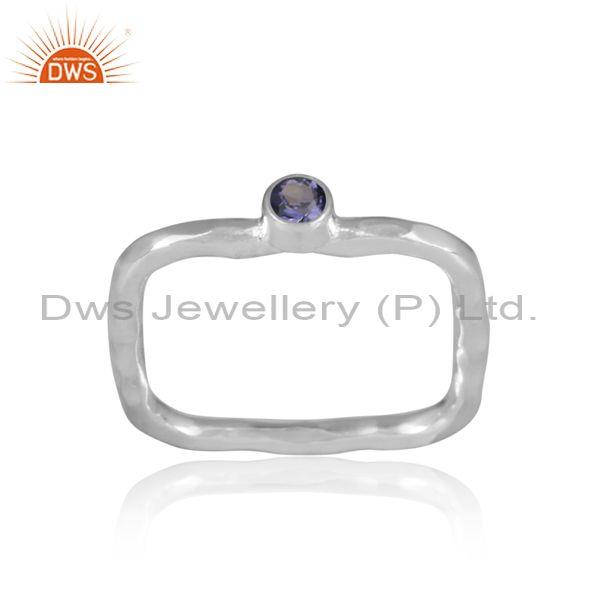 Iolite set fine sterling silver rectangular designer ring