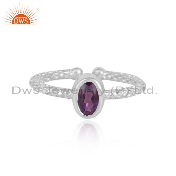 Oval Cut Amethyst Set Fine 925 Sterling Silver Designer Ring