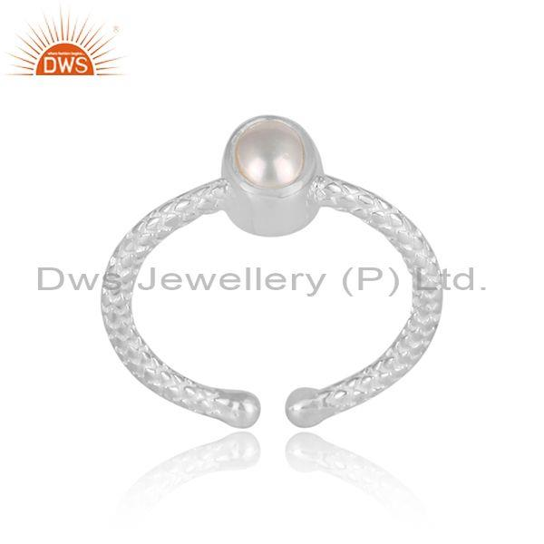 Round pearl set hand hammered fine 925 sterling silver ring