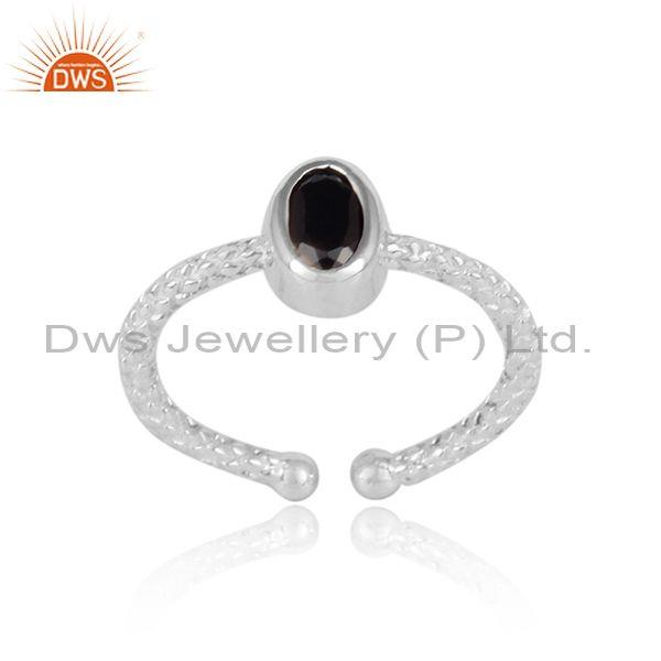 Oval black spinal set fine 925 silver hand hammered ring