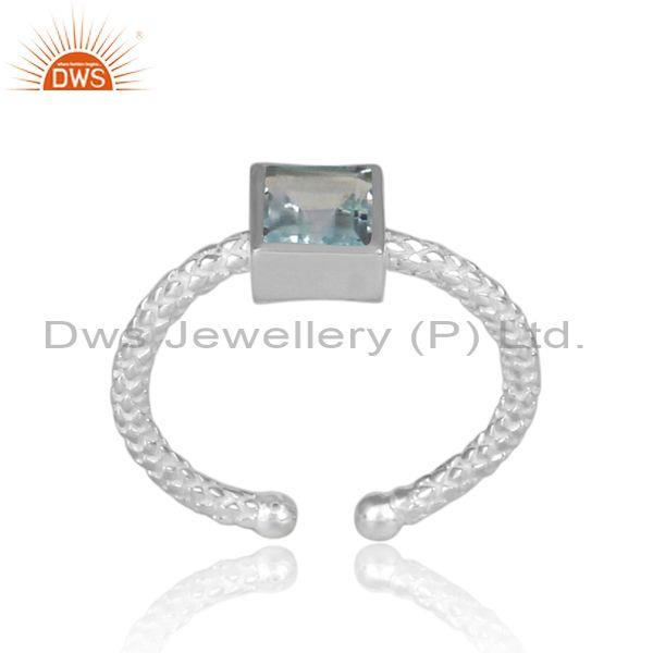 Square Cut Blue Topaz Set Fine 925 Silver Hand Hammered Ring