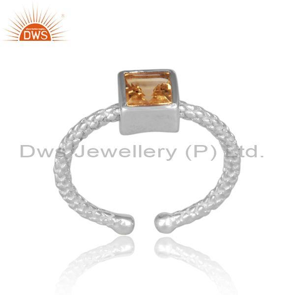 Square cut citrine set fine 925 silver hand hammered ring