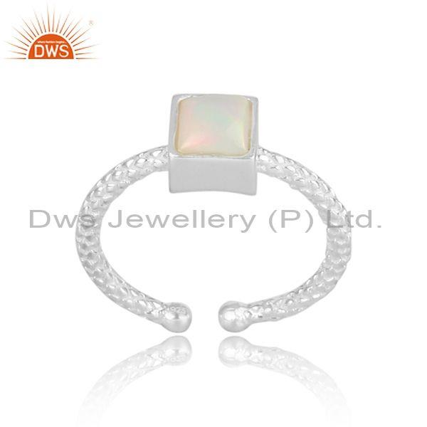 Square cut ethiopian opal set fine silver hand hammered ring