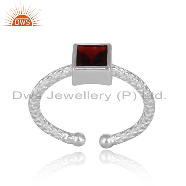 Square Cut Garnet Set Fine 925 Silver Hand Hammered Ring
