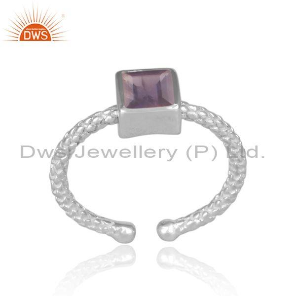 Square Cut Iolite Set Fine 925 Silver Hand Hammered Ring