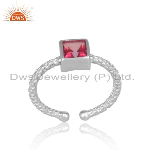 Square Cut Pink Topaz Set Fine 925 Silver Hand Hammered Ring