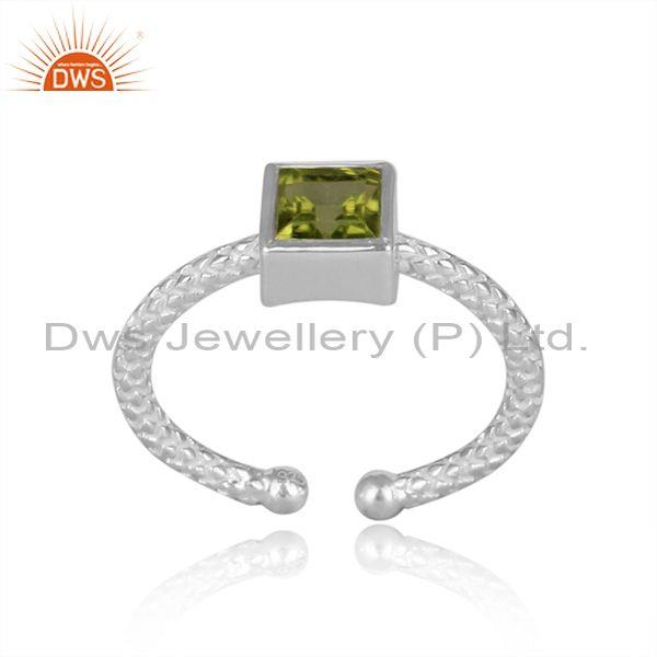 Square Cut Peridot Set Fine 925 Silver Hand Hammered Ring