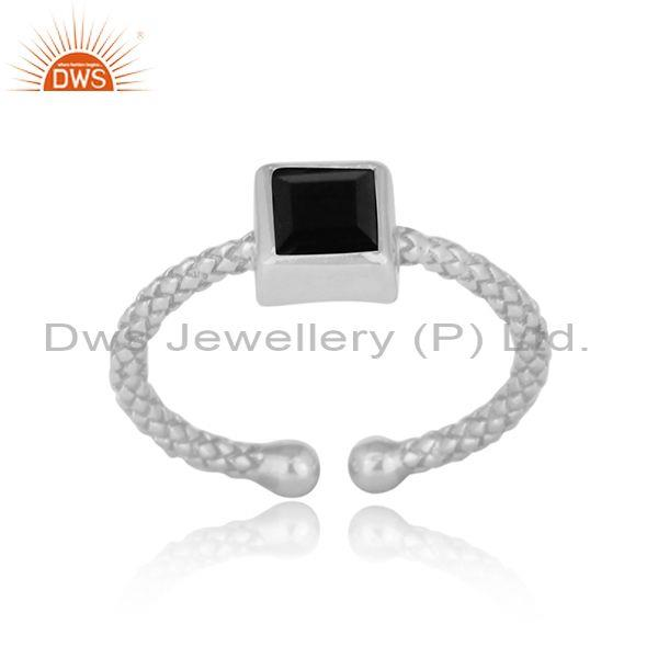 Square cut black spinal set fine silver hand hammered ring