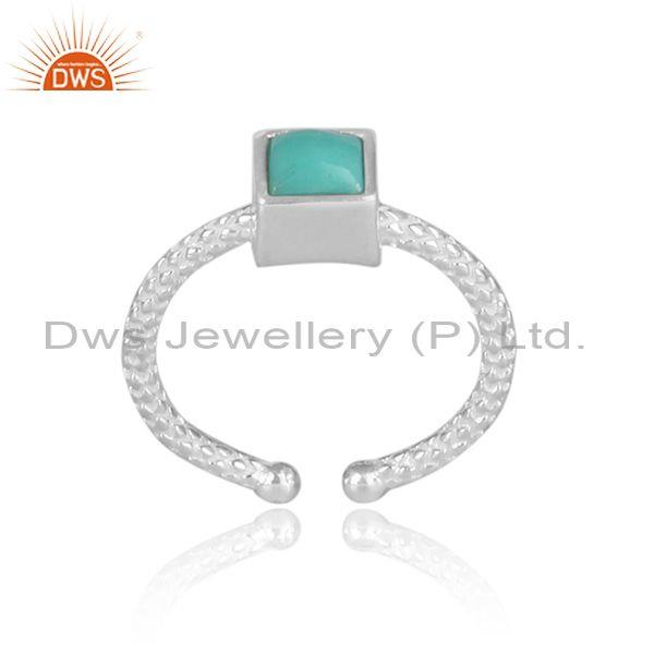 Square arizona turquoise set fine silver hand hammered ring