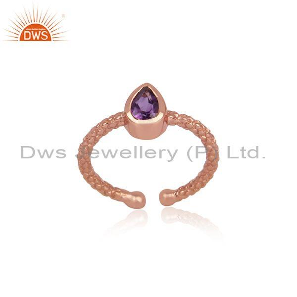 Pear Cut Amethyst Set Rose Gold On 925 Sterling Silver Ring