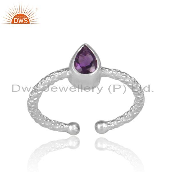 Pear Shaped Amethyst Set Fine 925 Silver Hand Hammered Ring