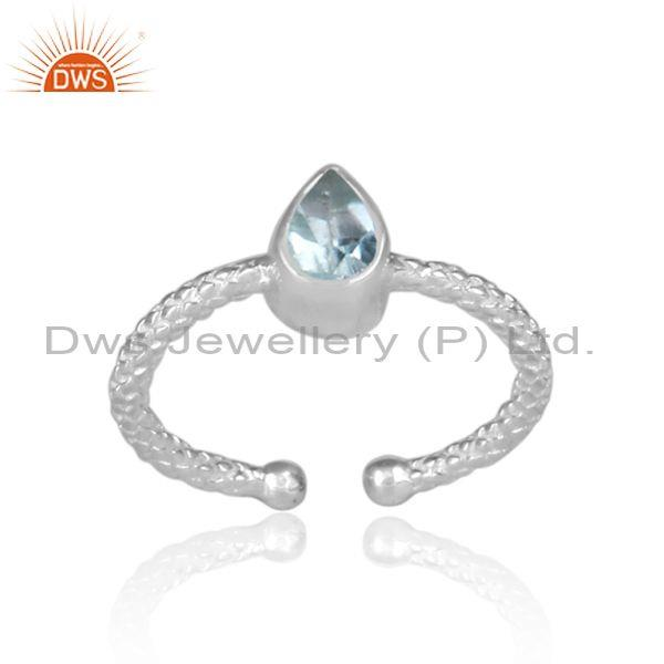 Pear Shaped Blue Topaz Set Fine Silver Hand Hammered Ring