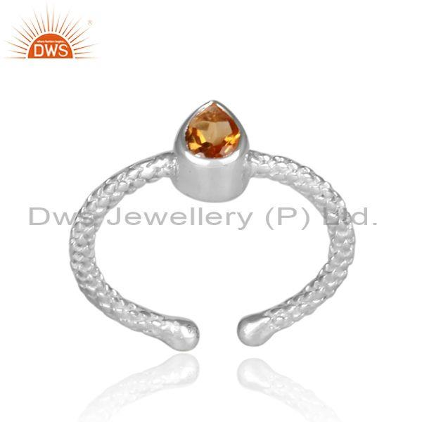 Pear Shaped Citrine Set Fine 925 Silver Hand Hammered Ring