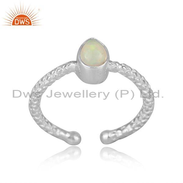 Pear shaped ethiopian opal fine silver hand hammered ring
