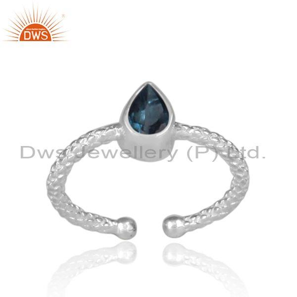 Pear Shaped London Blue Topaz Fine Silver Hand Hammered Ring