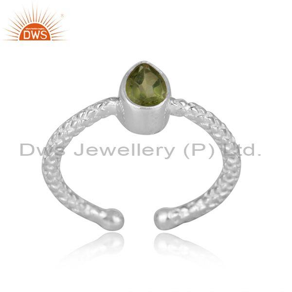 Pear shaped peridot set fine 925 silver hand hammered ring