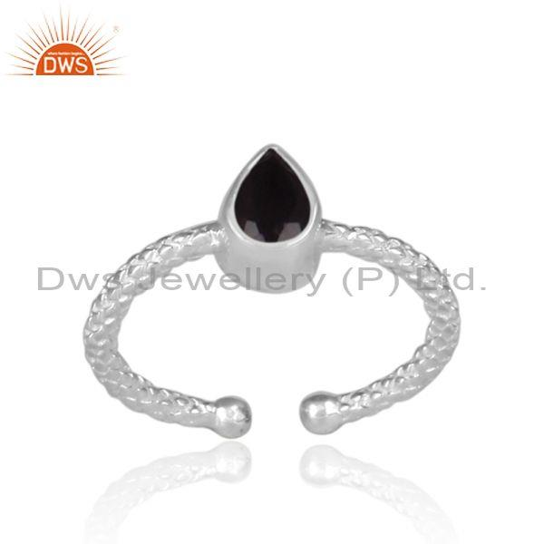 Pear Shaped Black Spinal Set Fine Silver Hand Hammered Ring