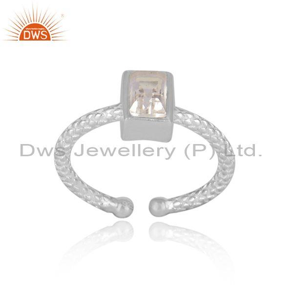 Rectangular crystal quartz fine silver hand hammered ring
