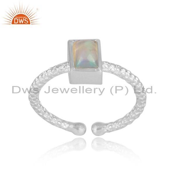 Rectangular ethiopian opal fine silver hand hammered ring