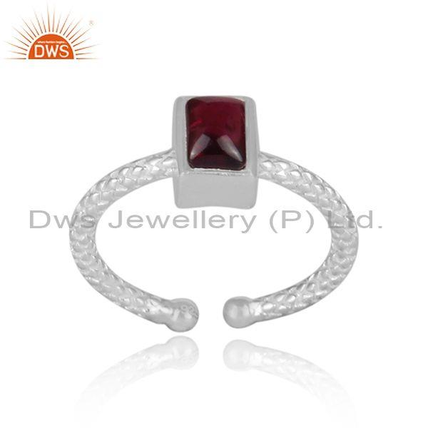 Rectangular garnet set fine 925 silver hand hammered ring