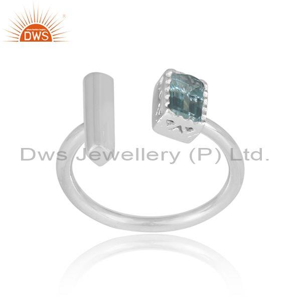Rectangle cut blue topaz set fine sterling silver open ring