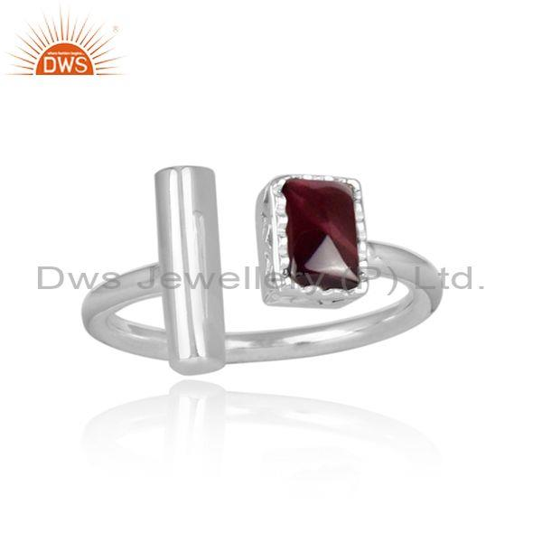 Rectangular cut garnet set fine925 silver open classy ring