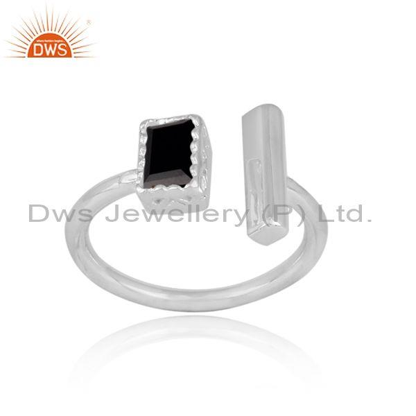 Rectangular cut black spinal set fine 925 silver open ring